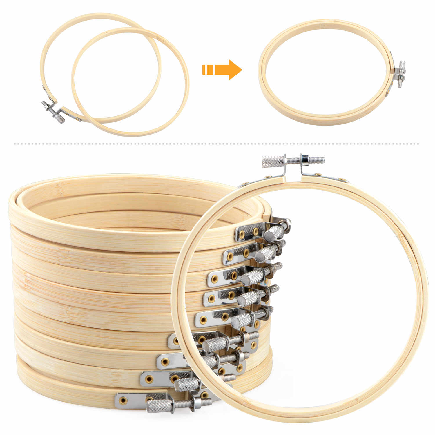 15pcs/set Manual DIY Wooden Embroidery Hoops Frame Set White Cotton Thick Embroidery Cloth Craft Tool