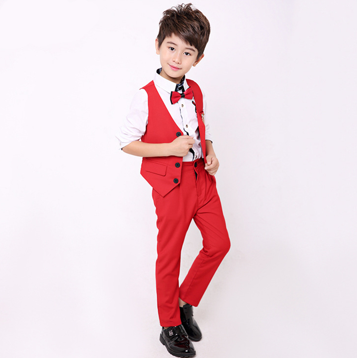 School uniform Dress for boys Brand Wedding Suit Gentleman Kids Vest Shirt Pants Formal Party Suit Children Clothing Set B044 gentleman kids sets 2018 fashion boys vest shirt pants 3pcs kids wedding party clothing ceremony children set formal suit f051