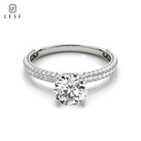 LESF 100% 925 Sterling Silver Wedding Band Ring for Women Top Quality Cubic Zirconia Engagement Ring CZ Jewelry