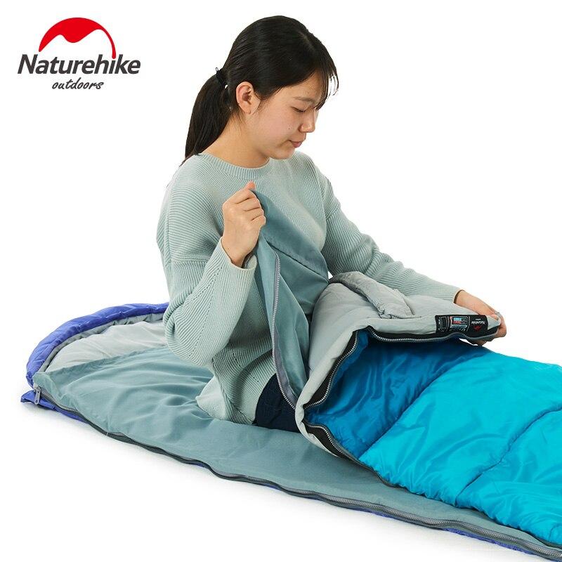 Enveloppe extérieure Type capuche unique sac de couchage coton épissure Compression sacs de couchage Camping printemps été bleu Orange vert