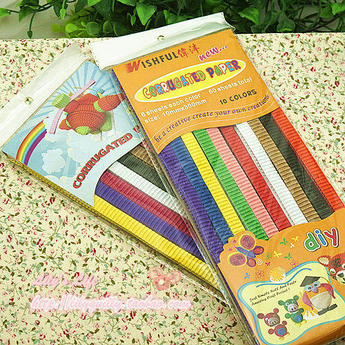 10 Color,6pcs per color,total 60pcs Corrugated Paper,Craft Quilling Paper-Assorted Colors
