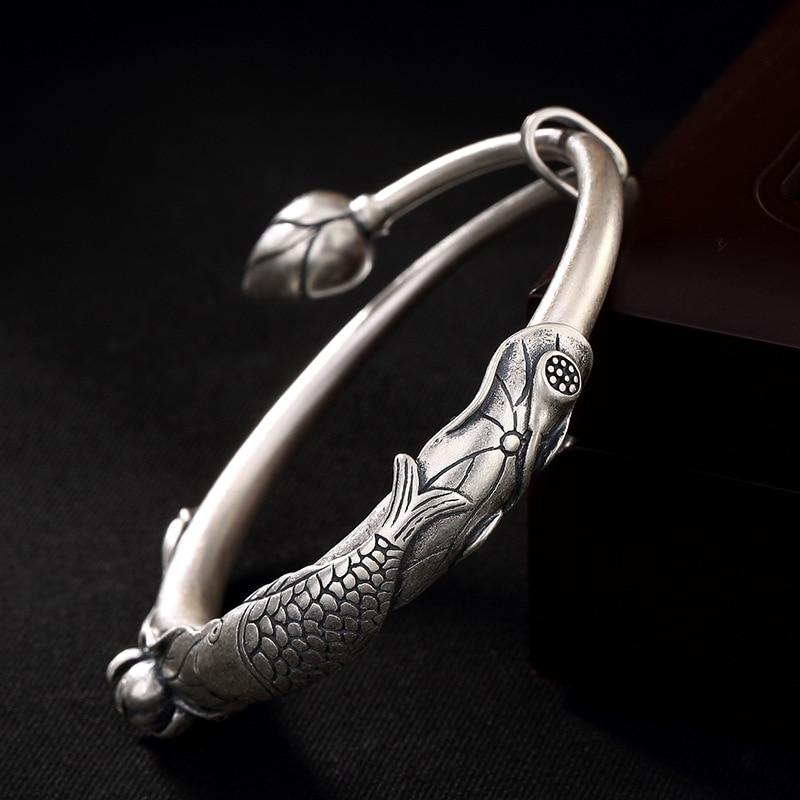 Garanti 990 Bracelet en argent Bracelets pour femmes déclaration de poisson inspirant Bracelets Manchette Bracelet Femme