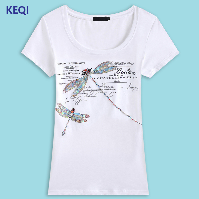 Keqi newest hand beading t shirt women tops fashion for Full hand t shirts for womens