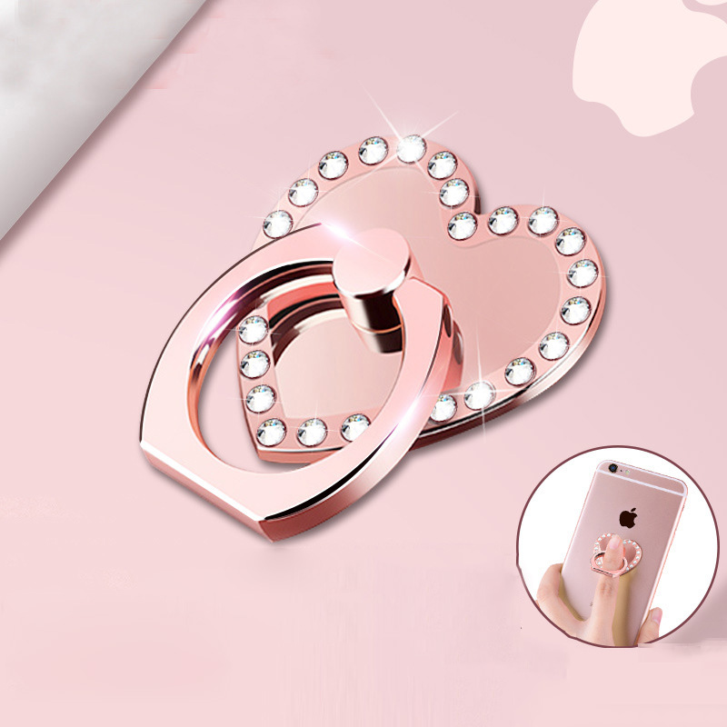 360 Degree Diamond Heart Shape Finger Ring Phone Holder For Mobile Phone Universal Smart Phone Metal Support Ring Stand ZSMZZY|Phone Holders & Stands| |  - title=