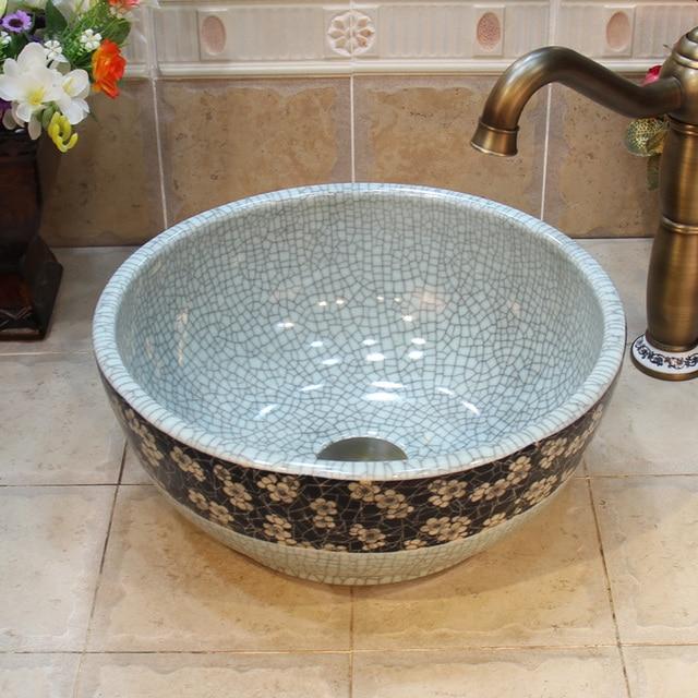Mini Vessel Bathroom Sinks.35cm Ceramic Wash Basin Mini Crack Vessel Sinks Jingdezhen Art