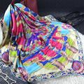 110x110 cm 100% Bufanda Cuadrada de Seda de la Impresión de Las Mujeres Bufandas 2017 Primavera Mujer Fourlard Lujo Marca Mantones Wraps ST
