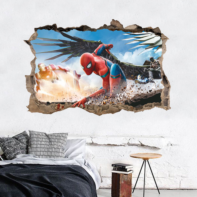 Aliexpresscom Buy Cartoon Spiderman D Effect Wall Sticker For - 3d effect wall decals