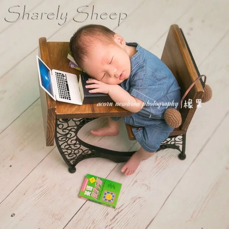 Newborn Photography Props Basket Baby Boy Girl Photo Shoot Studio Posing Wooden+Iron Writing Desk Props bebe foto Accessories