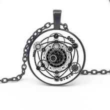 Retro Fantasy Magic Sigi Witchcraft Pattern Pendant Necklace Glass Cabochon Jewelry Necklace Men Women Accessories Gift Souvenir