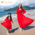 Family Matching Outfits Mother Daughter Dresss 2017 Summer family look girl and mother Girl Dress Vestidos Family Clothing