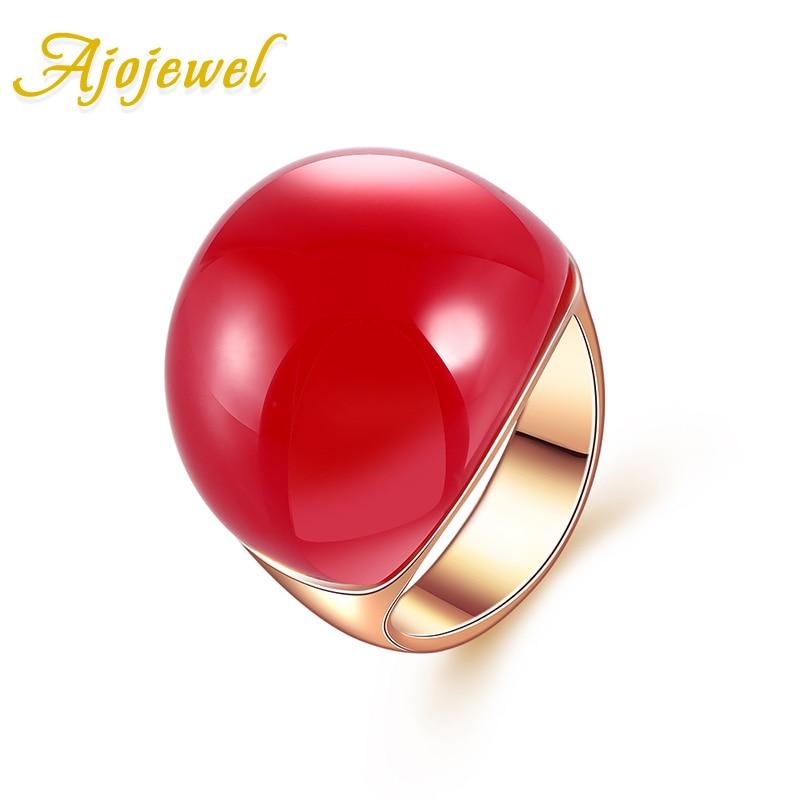Tamaño 7-9 Ajojewel Marca Anillo de piedra rojo / naranja / amarillo / verde oscuro para mujeres Gran piedra semipreciosa de lujo de oro rosa Color Joyería