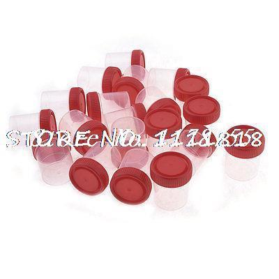 20pcs Home Clear Plastic Round Shape Urine Test Cups 60mL w Red Cover red fox рюкзак river 2l 2200 кирпич