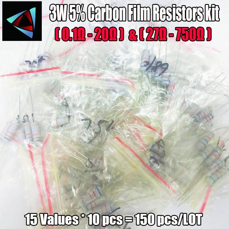 75Pcs 3W Carbon Film Resistors 0.1 Ohm ~ 20 Ohm Or 27 Ohm ~ 750 Ohm 5% Assorted Kit Resistance 15 Values*5pcs Metal Oxide Film
