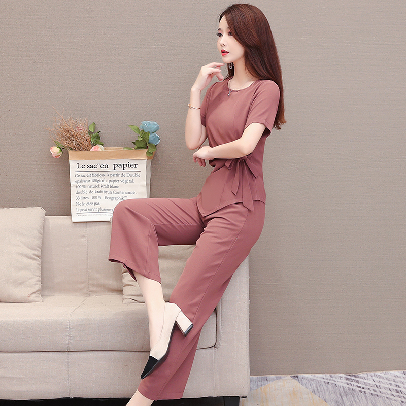 Summer Two Piece Sets Outfits Women Plus Size Lace-up Bow Tunics Tops And Pants Suits Korean Elegant Office 2 Piece Sets Blue 43