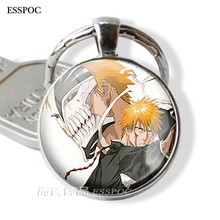 Fashion Accessories Bleach Pendant Keychain Ichigo Kurosaki Shinigami Hollow Mask Charms Anime Manga Badge Gift for Cosplay Gift(China)