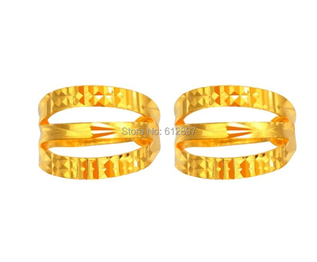 999 auténtico de 24 K oro amarillo pendientes del aro / Craved Lucky mujeres Hoop Earrings / 3.33 g