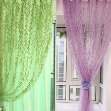 Home Textile Chic Room Willow Pattern Voile Window Curtain Sheer Panel Drapes Scarfs Curtain for bedroom living room chic wall pattern voile scarf for women