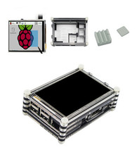 New 3.5 inch LCD Display Touch Screen with 9-layer Case + 3pcs Ceramic Heatsink for Raspberry Pi 3