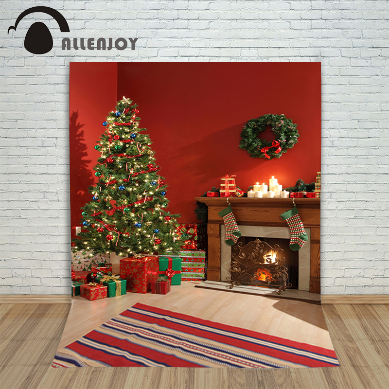 Allenjoy photography backdrops Christmas tree decorations wood Fireplace presents photo background backgrounds for photo studio white 3d decorations xmas tree hall fireplace room backdrops vinyl cloth computer printed christmas photo studio background