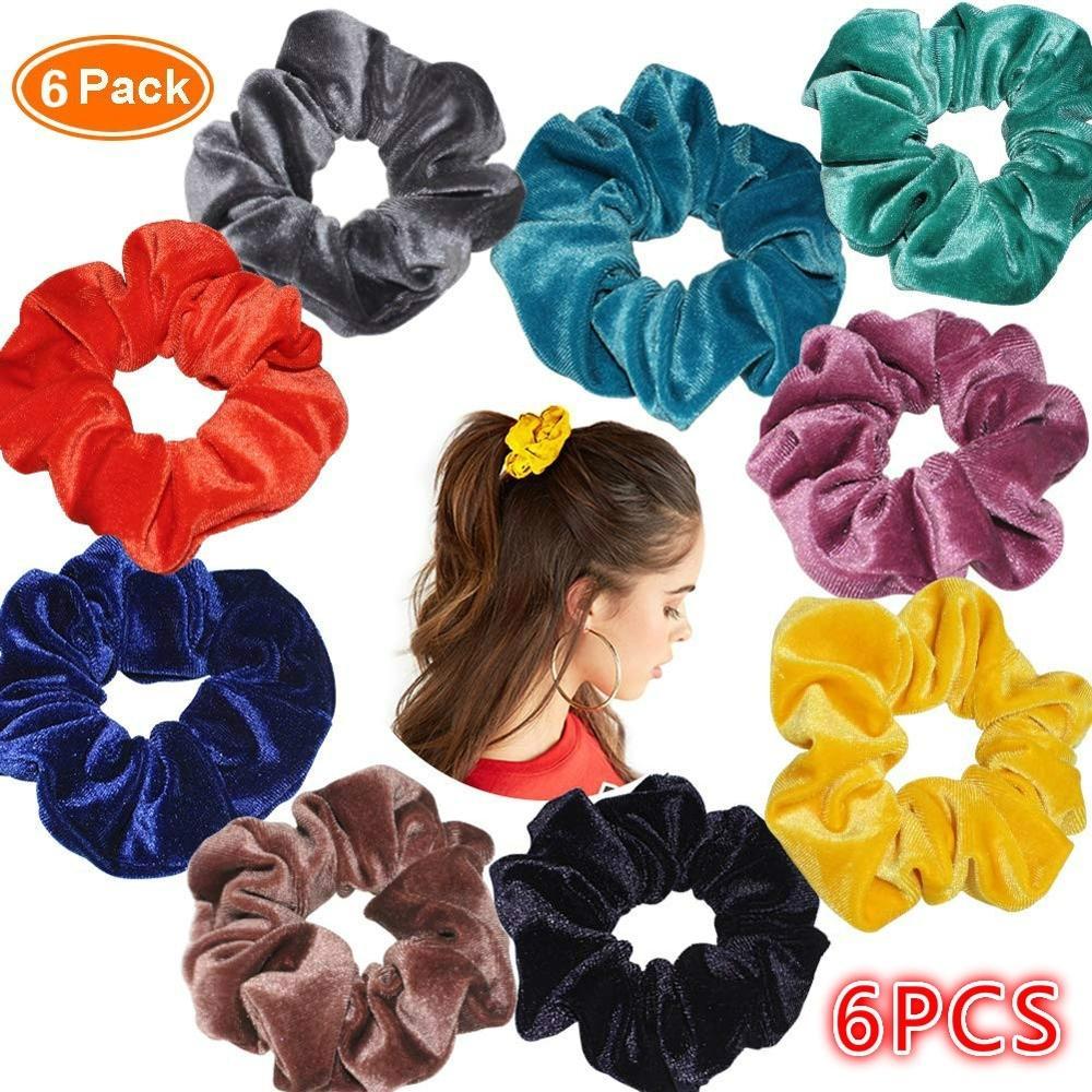 6pcs Velvet Band Scrunchie Elastic Hair Ties   Headwear Rope Adult Hair Rope Hair Accessories Band Simple Hair Ties