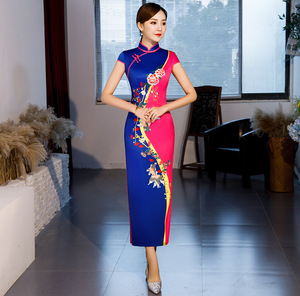 Image 3 - Hot Sale Traditional Chinese Women Long Dress Summer New Silk Satin Qipao Sexy Slim Printed Cheongsam Plus Size M L XL XXL XXXL