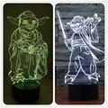 Рыцарь-джедай Йода Звездные войны Красочная 3D Лампа Multicolors с Пульт дистанционного управления Красочный Обесцвечивание Световой Игрушки