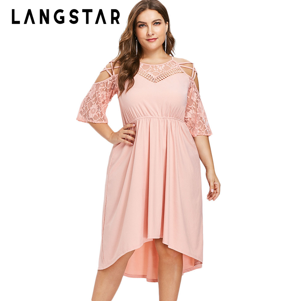 LANGSTAR Plus Size Dress Lace Trim Ribbed Midi Dress Solid ...