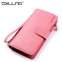Sxllns Women Genuine Leather Fashion Wallet Clutch Bags Brand Womens Wallets And Purses Ladies High Quality Wallet Free Shipping