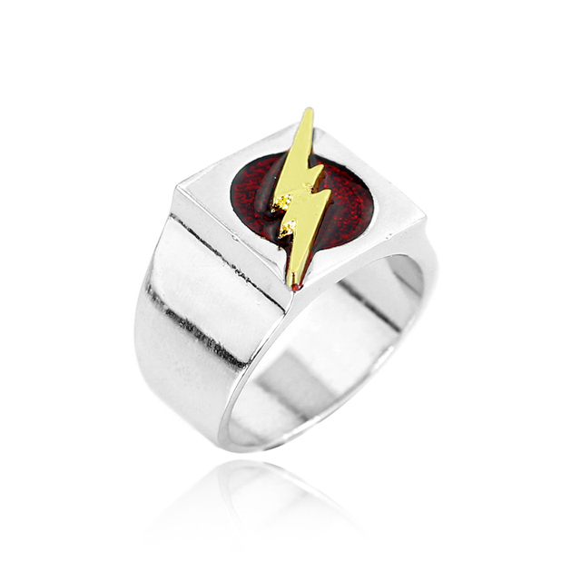 The Flash Superhero Ring With Gold Lighting Logo Silver Dc Movie Comic