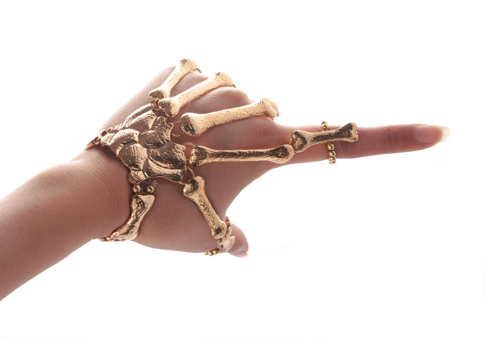 New Hot Popular Chic Punk Gothic Bones Skull Skeleton Hand Fingers <font><b>Ring</b></font> <font><b>Bracelet</b></font> image