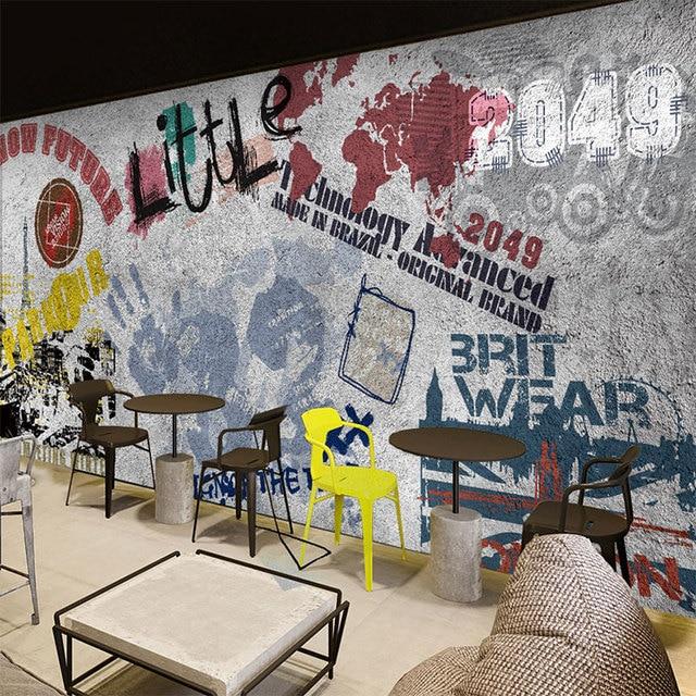 Custom Size Photo 3D Brick Wall Graffiti Wallpaper Coffee Shop Casual Bar Dining Room Lounge Restaurant