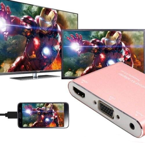Heerlijk 3in1 Telefoon Naar Tv Vga Projector Video Converter Hdmi Av Adapter Voor Iphone X 5 6 7 8 Plus Voor Ipad Ios Android Screen Spiegel