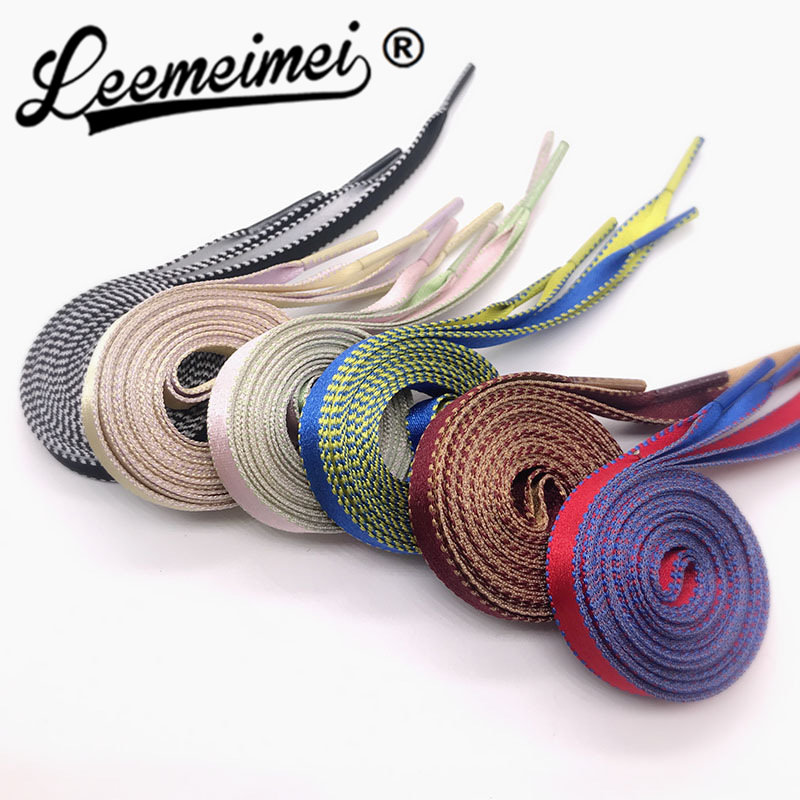 120cm/47inch Bi-color Silk Flat Shoelaces Shoe Laces for Sneaker Sport Shoes 1cm Wide цена и фото