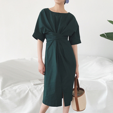 2017 Summer New Fashion Women Dress Solid Color Half Sleeve Cotton Women Dress O-neck Loose for Women Dresses
