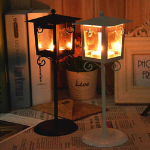 Iron Glass Candle Holder Classic Black White Tea Light Stand Home Table Lantern Decor
