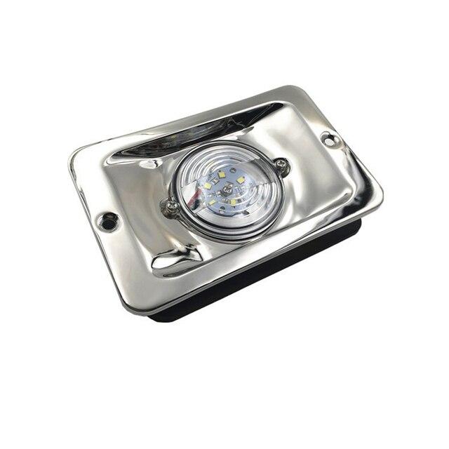 Luz LED blanca para navegación marina en yate, lámpara de señal cuadrada de acero inoxidable resistente al agua DC 12V