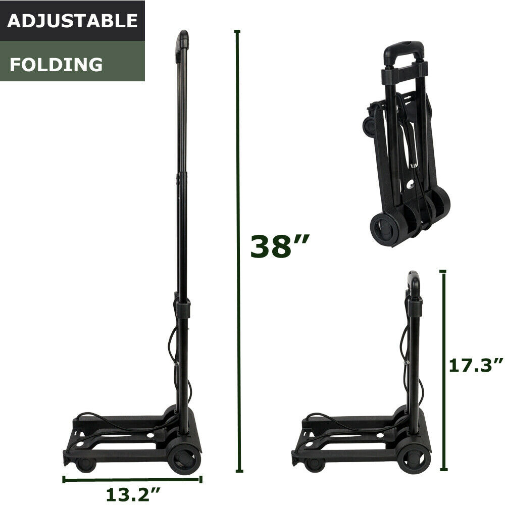 Folding Cart Dolly Push Luggage Hand Truck Collapsible Trolley W/ Rope&Hook