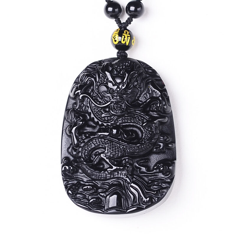 Drop Shipping Obsidian Pendant Natural Black A Antique Dragon Amulet Necklace Men Fine Crystal Jewelry