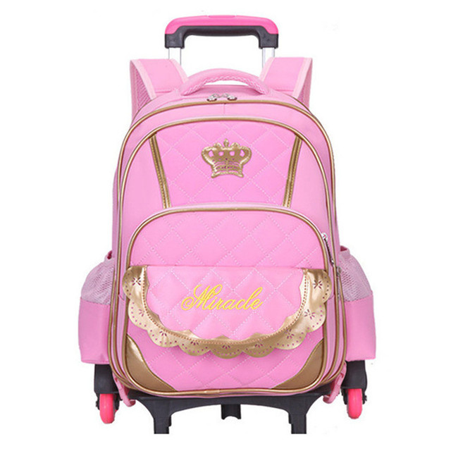 Hot Trolley Backpack S Wheeled School Bag Children Travel Luggage Suitcase On Wheels Kids Rolling