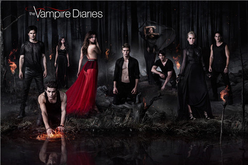 Canvas Poster Silk Fabric PL#112 Custom the vampire diaries 01 Home Decor modern For Bedroom Poster Size Poster QO-7m112