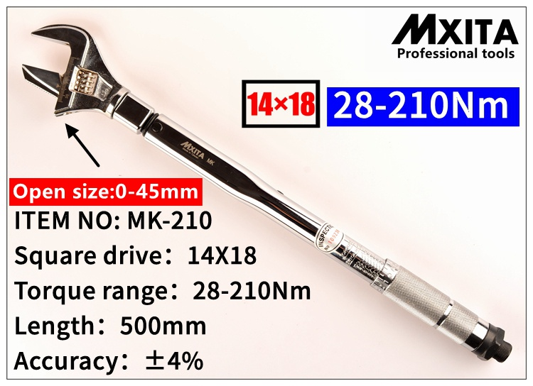 MXITA OPEN wrench Adjustable Torque Wrench 14X18 28 210Nm Insert Ended head Torque Wrench Interchangeable Hand