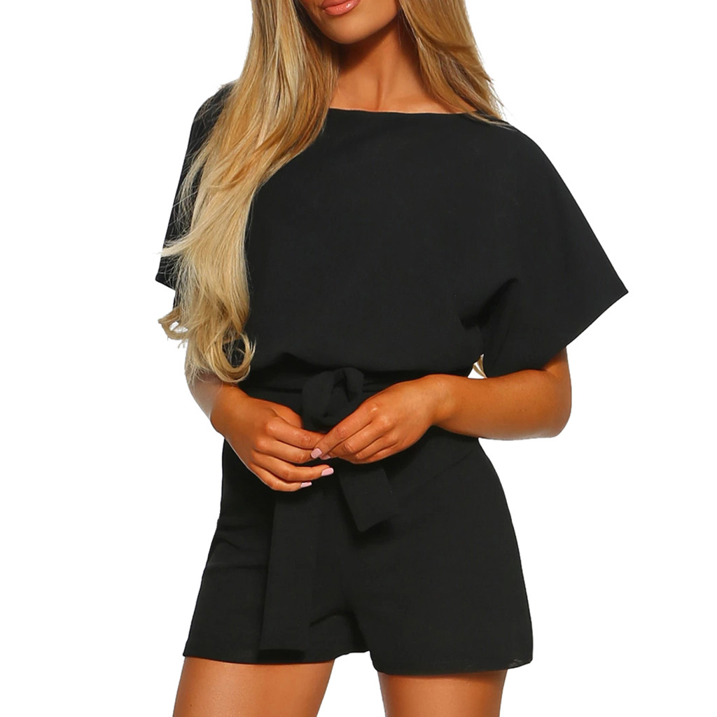 cotton short sleeve casual bodysuit 2019 summer women black solid sexy body suit female body for women   jumpsuit   overalls