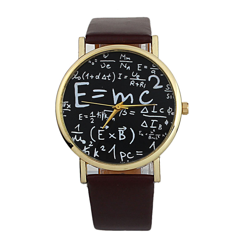 2018 Luxury Einstein E=MC2 Equation Mathematical Formula Math Symbols Faux Leather Analog Quartz Watch Watch Wristwatch