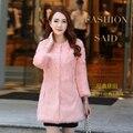 Large size S - 6XL real rabbit fur coat women O neck 3/4 sleeve medium-long women winter coat autumn free shipping g82937