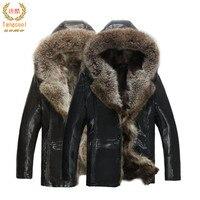 Размеры 3XL 4XL 5XL мужские Кожаные куртки из натурального меха енота пальто Дубленки зимние парки Зимняя одежда Теплый Thicking