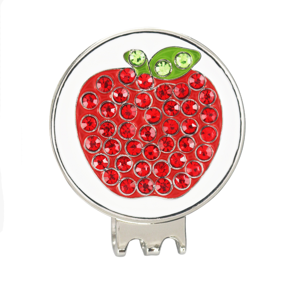 PINMEI Apple Golf Ball Mark Magnetic Golf Hat Clip Sets 1pc Crystal Bling Golf Marker 1pc Cap Clip Sets For Ladies Golfer Friend