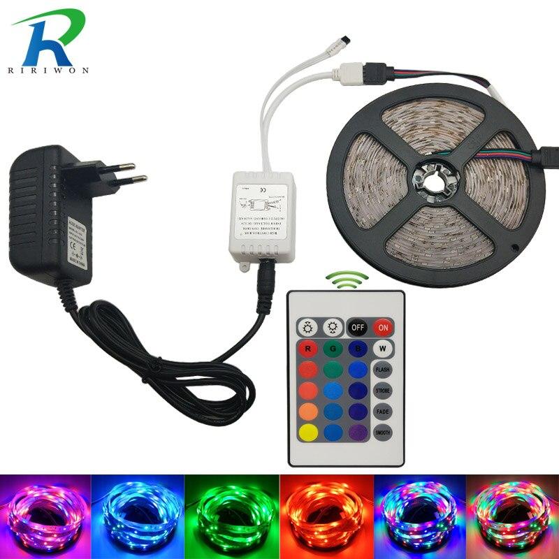 DC 12V RGB LED Strip light 5M SMD2835 Waterproof LED lighting Ribbon Tape With 24keys IR Remote Controller DC12V 2A Adapter
