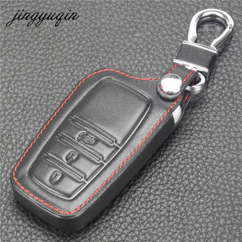 jingyuqin Leather Remote Car Keychain Key Cover Case For Toyota Highlander Camry Crown 3 Button Smart Key Holder