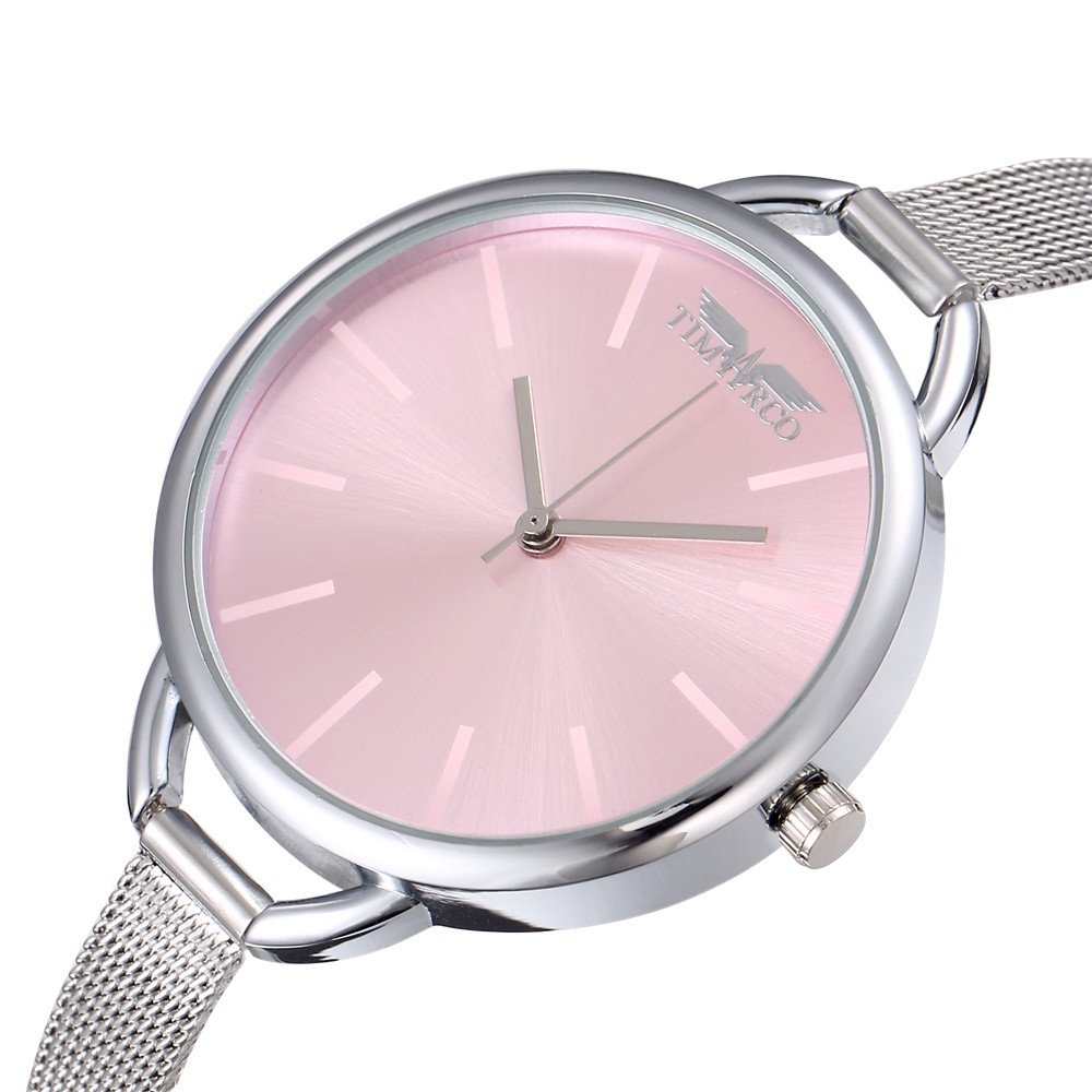 Montre Femme 2019 Fashion Simple Slim Band Ladies Watch Round Pink Dial Elegant Metal Band Casual Women Bracelet Quartz Clock