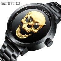 Watch GIMTO Male Unique Design Skull Watches Men Luxury Brand Sports Quartz Military Steel Wrist Watch
